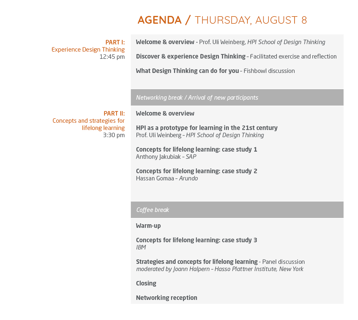 Agenda Thursday